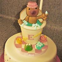Bunny in Shower Birthday cake