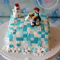 Winter Minecraft cake