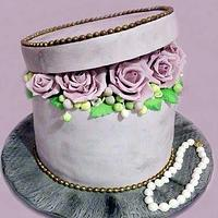 cake box with roses