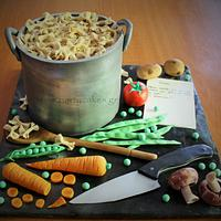 Cooking Pot, Pasta & Veg cake