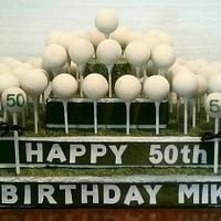 Golf Ball Cake Bites on Tees and Cake Pops