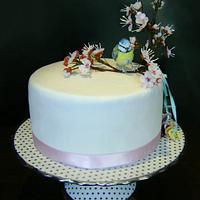 Cake with blue tit by Tatyana Cakes