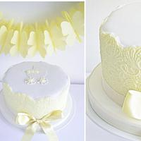 Yellow Lace Baby Shower Cake