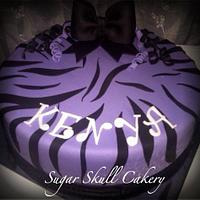 Purple Zebra Striped Birthday Cake