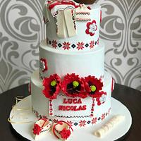 Christening cake ispired in Romanian folklore