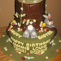 Easter Cake Tree Stump Bunny Rabbit Cake