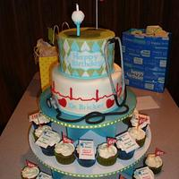 Golfing Doctor's 60th Birthday Cake & Cupcakes by Toni (White Crafty Cakes)