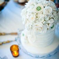 Sugar flower wedding cake and topper