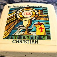 Gum Paste Stained Glass: First Communion Cake