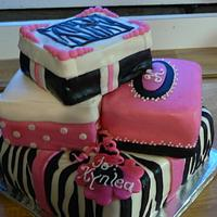 Zebra print gift box cake
