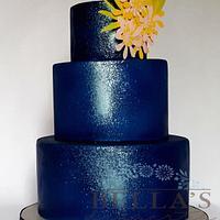 Lapis splash wedding cake
