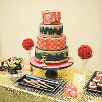 Black red and  gold  cake