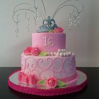 Sweet 16 Cake, Buttercream icing, fondant accents