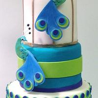 Peacock Wedding Cake by BumbleBake