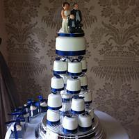 Navy and white mini cakes