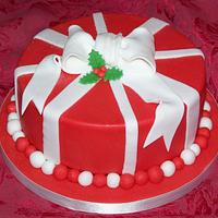 Red & White Christmas Cake