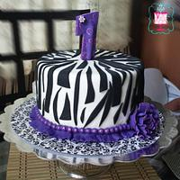 purple zebra birthday cake