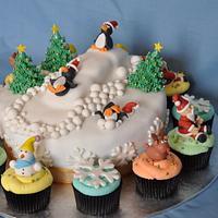 Penguin Ski Slope Christmas Cake