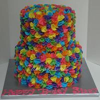 Dora inspired ruffle cake