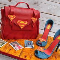 superman man themed handbag and stilhetto shoes