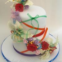 Rainbow Splash Wedding Cake