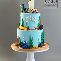 First birthday beach theme by Lori Mahoney (Lori's Custom Cakes)