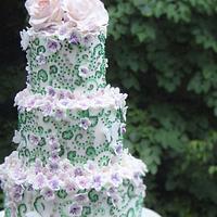 lime green and purple wedding cake