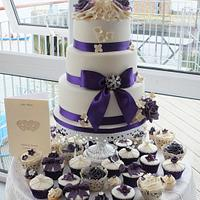 Ivory & purple wedding cake