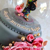 Glass ball cake with figure