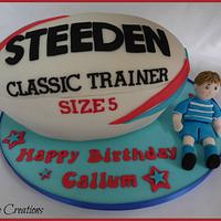 Rugby ball cake and figure