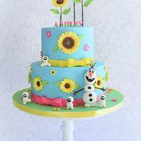 Frozen Fever themed birthday cake