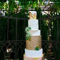Trendy succulent wedding cake