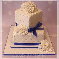 Two Tier Square White Wedding Cake
