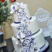 purple orchids wedding cake