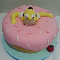 Homer doughnut cake