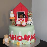 Farm Theme Christening Cake