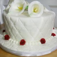 White Calla Lily Red Rose Wedding Cake