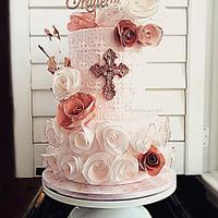 Rose Gold Baptism Cake in Wafer Paper