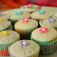 Easter Tie Dye Mini cupcakes with Fondant embossed top by Ansa