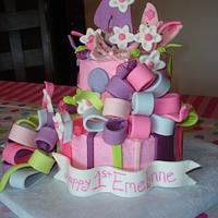 Whimsical 1st birthday cake