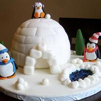Penguin Family Birthday Cake