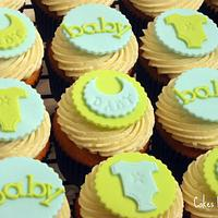 Blue & Green Baby Shower Cupcakes by Becky Pendergraft