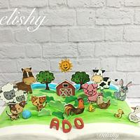 Farm animals open book cake