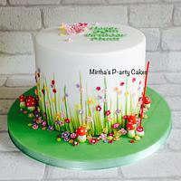 Spring flowery drum cake