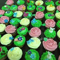 Garden themed cup cakes