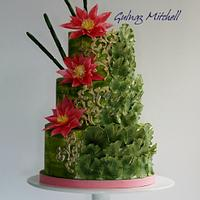 Red Water Lily cake