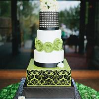 Modern Green, White, and Black Wedding Cake