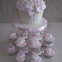 Pink cupcake tower  by Tracey