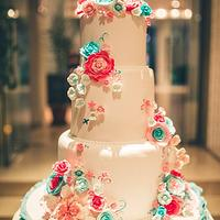 Teal and Pink Wedding Cake