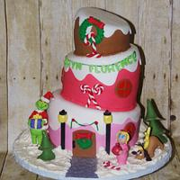 Topsy Turvy Grinch in Whoville Birthday Cake by DaniellesSweetSide